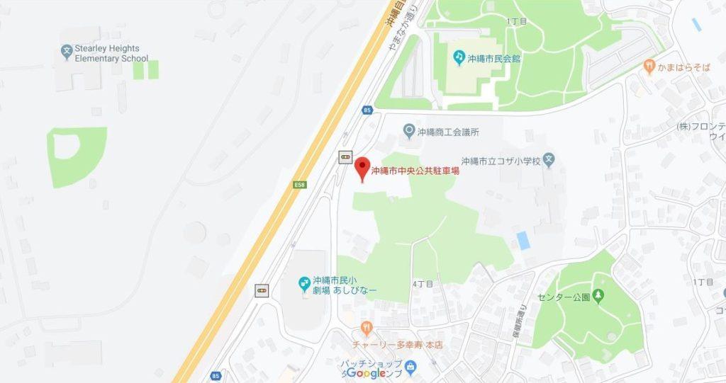 沖縄市中央公共駐車場を示したグーグルマップ